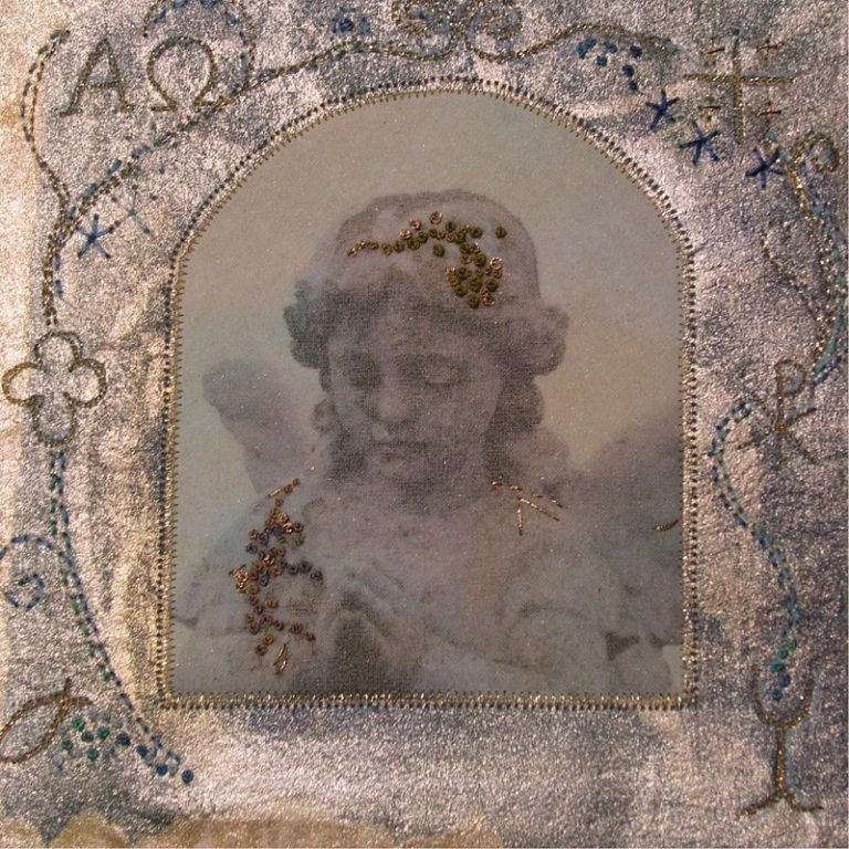 Image on a young angel with embroidery