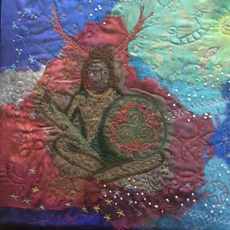 Free machine and hand stitched picture of the storyteller